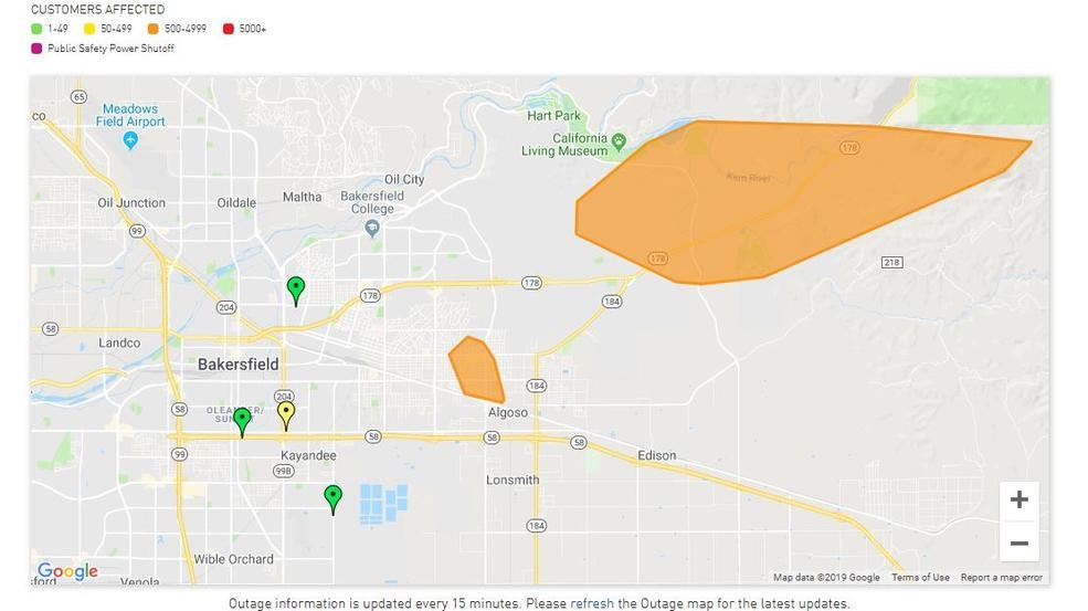 Power outages affect customers in east, NE Bakersfield | KBAK on fpl grid map, con edison map, illinois gas utility map, wind energy distribution map, substation pse g map, electric utility service area map, pepco service map,