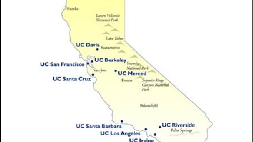 Universities And Colleges In California Map.Uc Campuses Aim To Admit More Students From 2 Year Colleges Kbak