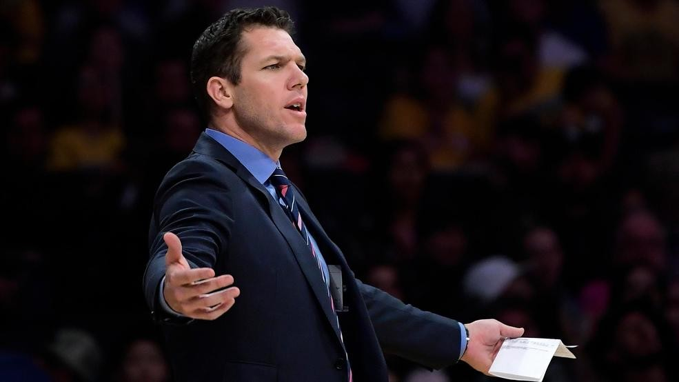 34f451102e2 Los Angeles Lakers coach Luke Walton gestures during the second half of the  team's NBA basketball game against the Portland Trail Blazers on Tuesday,  ...